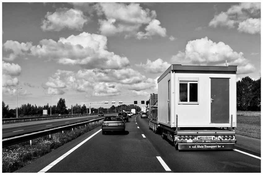 Highway Road Truck House On Wheels Transport Transportation Blackandwhite Blackandwhite Photography Blackandwhitephotography Blackandwhitephoto Black And White Black And White Photography EyeEm Best Shots - Black + White Sky Cloud - Sky