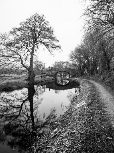 Bridge on the canal. Wales Water Reflections Winter Bare Tree Blackandwhite Branch Bridge Canal Day Empty Monochrome Nature No People Outdoors Sky Tranquility Tree Water