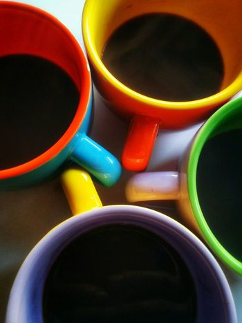 Espresso Coffee Showcase: December Close-up Pure Black Warm Intense Rainbow Cups Early Mornings Early Bird