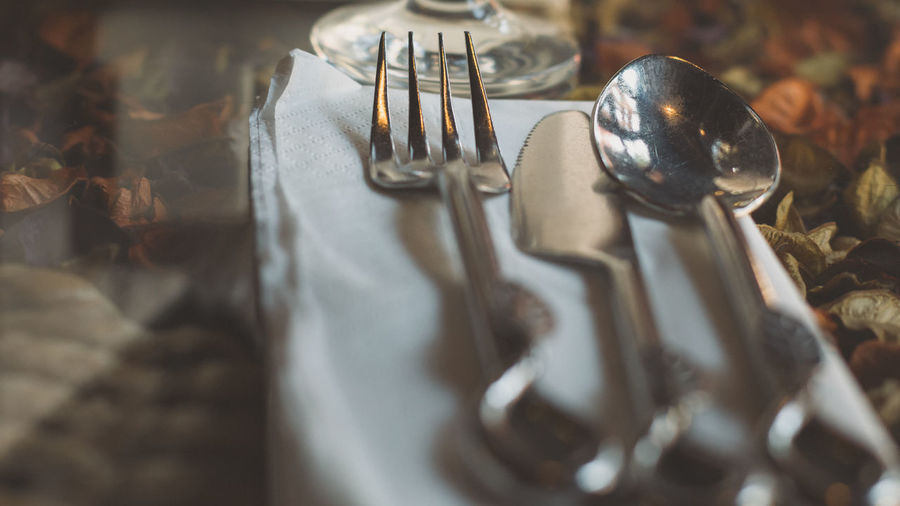Detail shot of fork table knife and spoon
