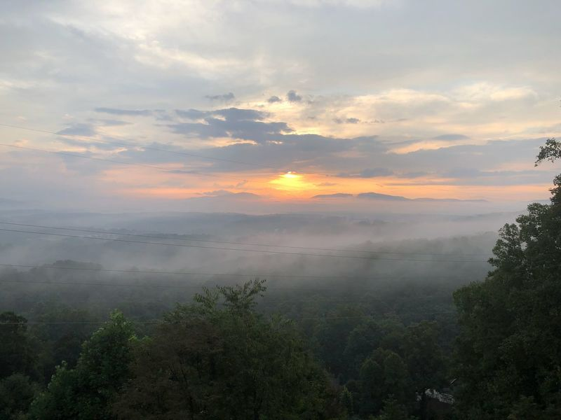 Misty morning sunrise Sunrise Sky Cloud - Sky Beauty In Nature Scenics - Nature Tranquil Scene Tranquility No People Nature Idyllic Plant Tree Orange Color Non-urban Scene Environment Landscape Outdoors