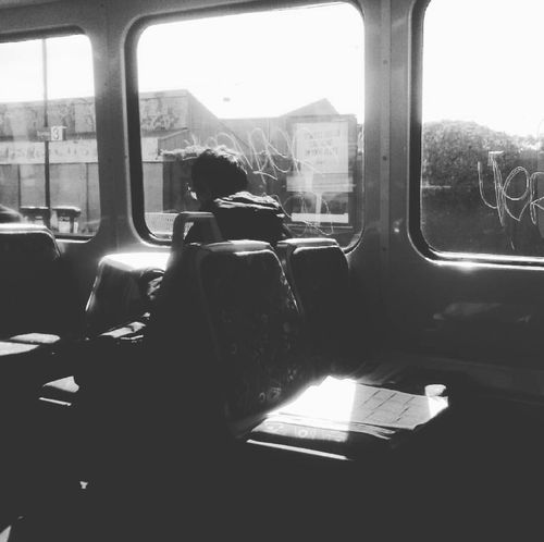 Window Transportation Inside A Train Passanger Sunny Day Black And White