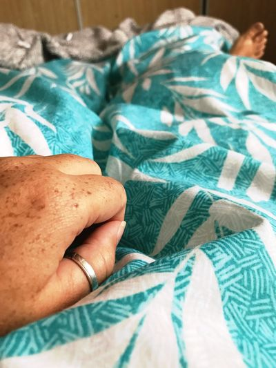Lazy Morning Lazy Day In Bed Human Body Part Human Hand One Person Indoors  Real People Bed Close-up Patterned Duvet Foot Sleepiness Happy