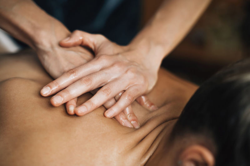 Ayurveda back massage with aromatherapy essential oil
