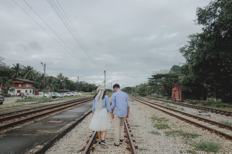 wedding Track Railroad Track Rail Transportation Transportation Sky Cloud - Sky Nature Real People Tree Men People Day Outdoors Love Wedding Wedding Photography