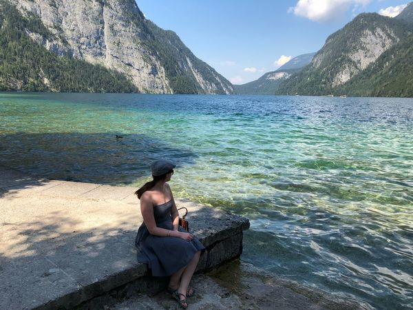 Mountain Königssee, Germany Lake Cap Water Sitting One Person Real People Leisure Activity Lifestyles Beauty In Nature
