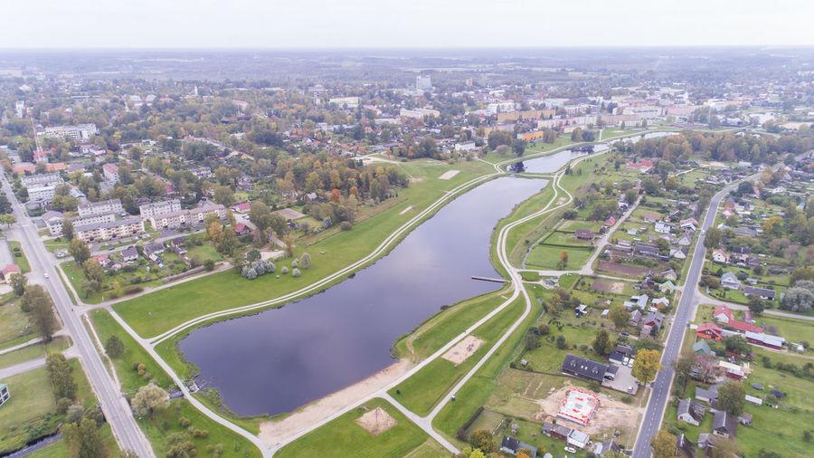 Autumn Cityscape Drone  Estonia Aerial Aerial View Architecture City Cityscape Day Droonifoto High Angle View Lake No People River Valgamaa