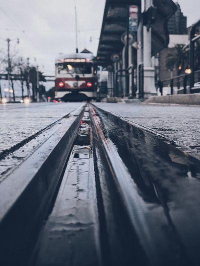 Surface level of tramway during rainy season