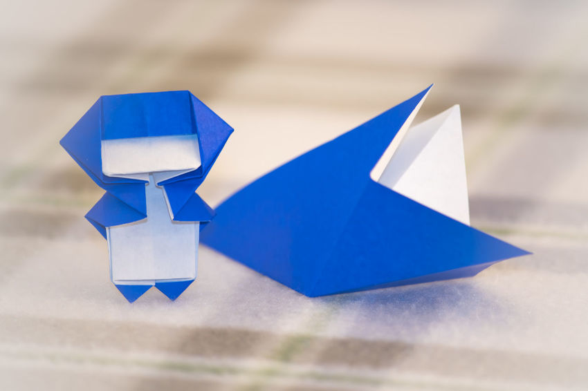 Blue Childhood Close-up Creative Creativity Day Focus On Foreground Makeing Model - Object Ninja No People Origami Outdoors Paper Paper Boat Table Toy