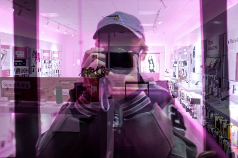 Man in pink store