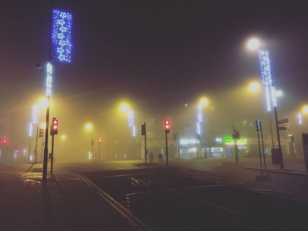 Fog Night Illuminated No People Road Outdoors Empty Road Empty Streets Empty Street Traffic Lights Christmas Lights Eerie