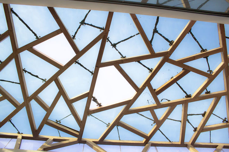 Low Angle View Built Structure Full Frame Pattern Architecture No People Sky Ceiling Day Backgrounds Indoors  Roof Metal Geometric Shape Design Transparent Shape Glass - Material Directly Below