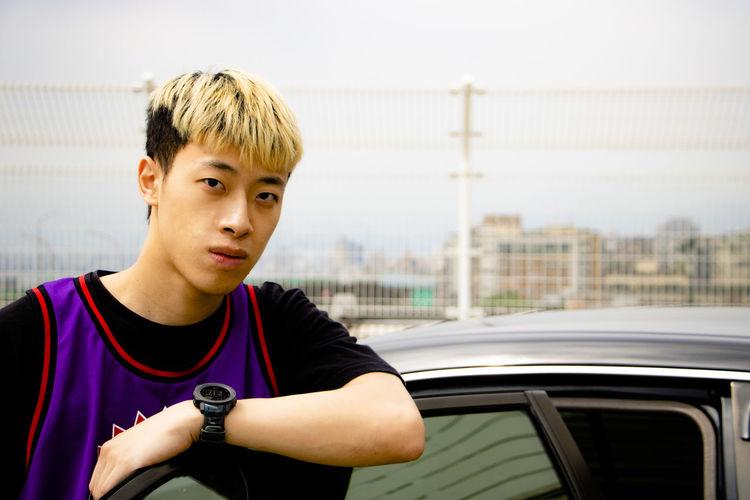 Portrait of boy in car