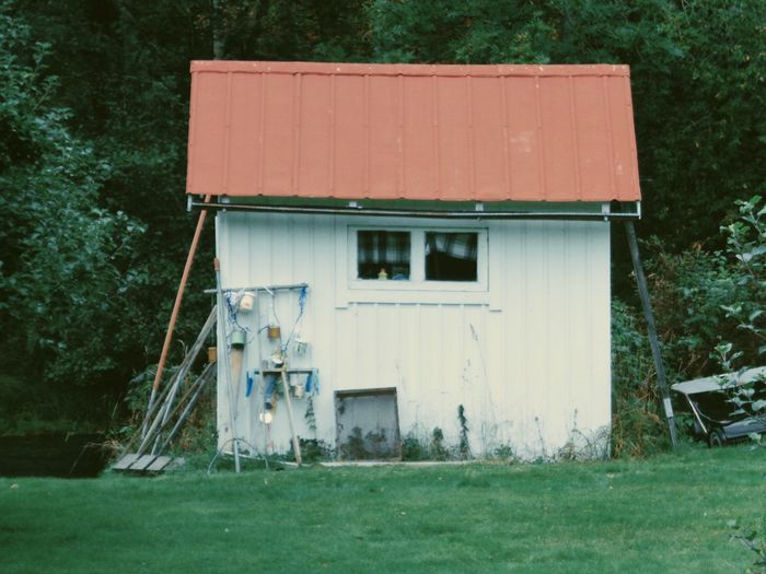 Tool house on field