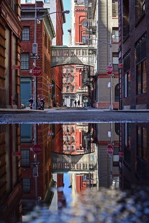 Tribeca Streetlife NYC Street NYC Street Photography Streetphotography Reflection In The Water Reflection_collection Reflections Architecture Built Structure Building Exterior Water City Building No People Reflection Outdoors Puddle Street Visual Creativity Summer Exploratorium