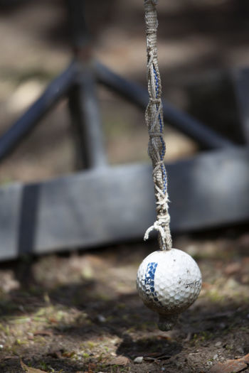 Close-up of ball on swing