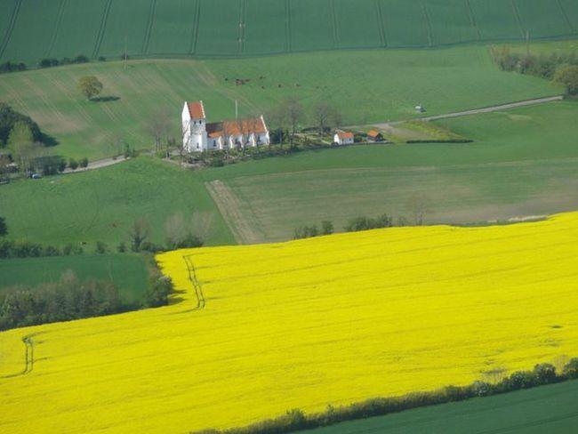 Aerial View Aerial Photography Aerial Shot Denmark Churches Rapsfeld From An Airplane Window