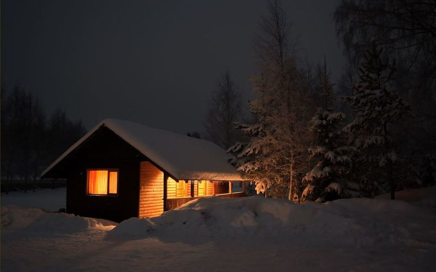 House Architecture Built Structure Building Exterior Tree Winter Snow Cold Temperature Residential Structure Tranquil Scene Tranquility Season  Scenics Weather Residential Building Beauty In Nature Nature Sky Non-urban Scene Dark