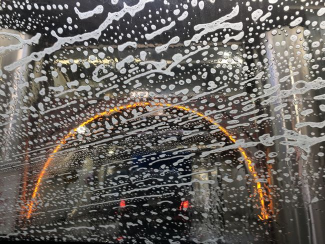Car Wash Day Car Wash, The Modern Way Going Through The Car Wash Neon Color Bubbles Windshield Water No People Car In Front Of Me Car Washing Indoors  Michigan