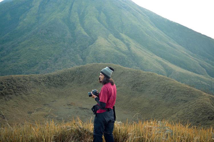 A photographer on the mountain