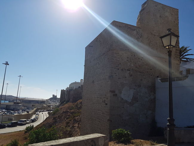 Architecture Built Structure Building Exterior Sunlight Sunbeam Sun Clear Sky Blue Sunny Day Outdoors Lens Flare Sky Exterior Town No People Sunny Tarifa Tarifa Spain Andalusia Summer Historic Old Town