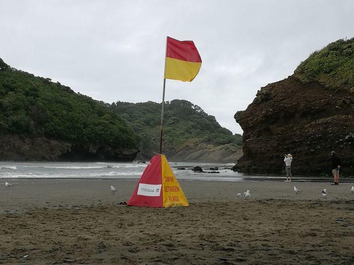 Flag Beach Photography Bethell's Beach Auckland Auckland New Zealand Close-up Surf Life Saving No People Ocean❤ Beach