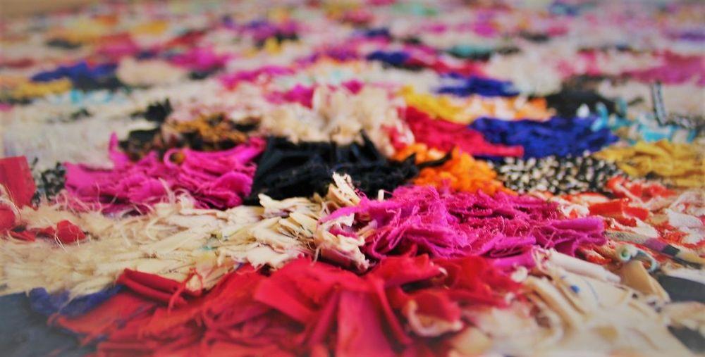 Boucherouite Carpet Close-up Detail Indoors  Multi Colored Selective Focus