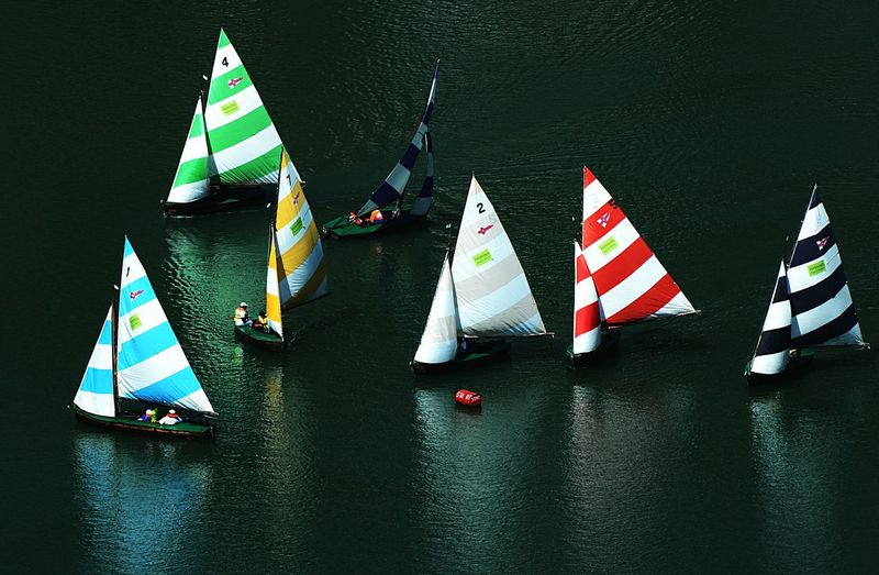 High angle view of sailboat in river