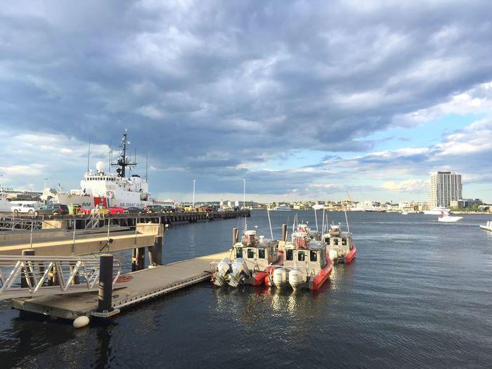 Cloud - Sky Sky Water Sea Transportation Day Architecture Nautical Vessel Mode Of Transport Nature Outdoors Harbor Boston Coast Guard Coast Guard Boat Naval Ship Ship