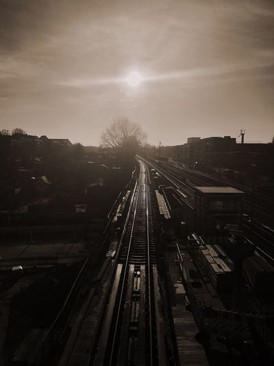 Subway Train Sunny Day Way To Home Railroad Track Blinded By The Sun Dazzling Sunlight