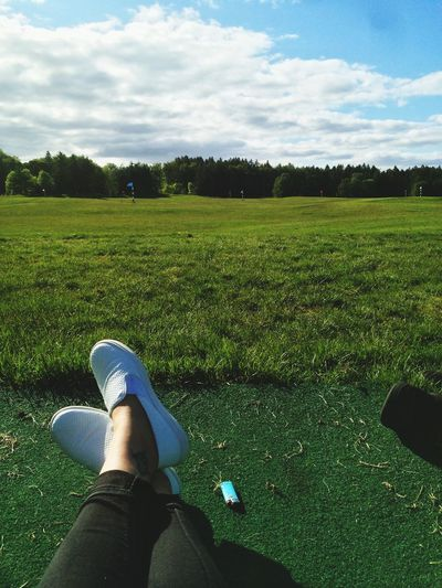 Taking a wee break from the driving range👌🏻 Golfing Tattoo Girl View Ireland