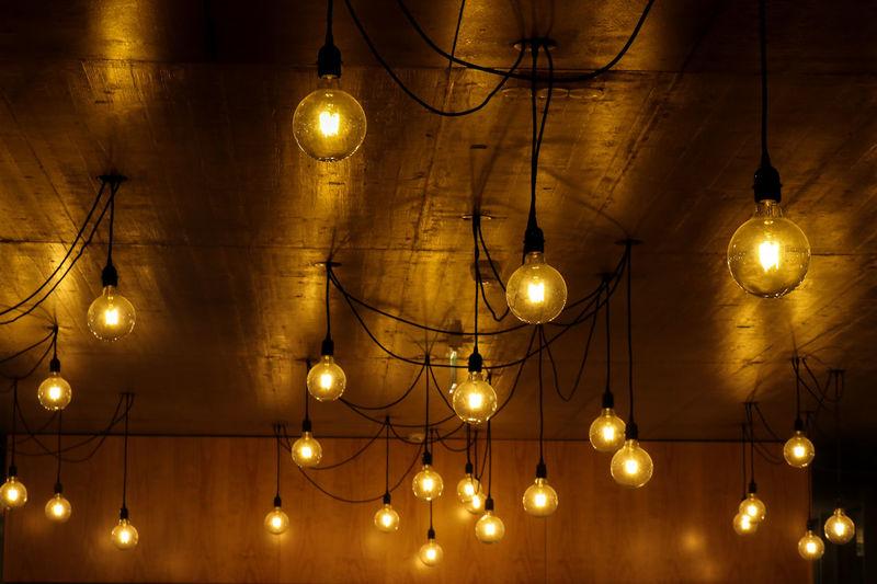 Light Illuminated Lighting Equipment Decoration Celebration Night Light Bulb Gold Colored Indoors