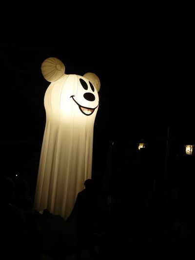 Funny Faces Halloween Ghost Mickey Mouse Disneyland Night Glow Eluminated Monster - Fictional Character Trick Or Treat Spooky