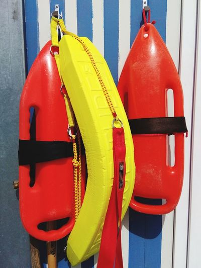 Red Color Sea Beach Beachphotography No People Life Guard Life Guard Station Red Water Hanging Buoy Safety Protection Close-up Life Belt Emergency Equipment Rescue Rescue Worker Lifeguard  Tied Up Rope