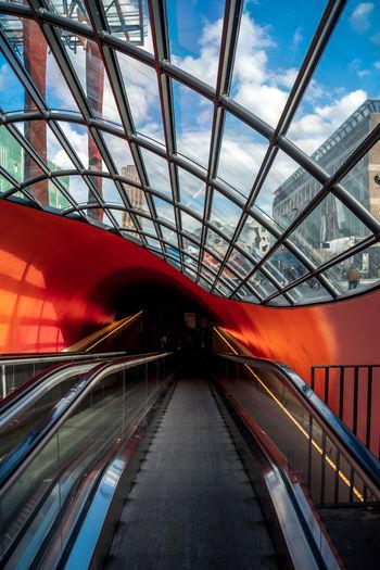 View of escalator against sky