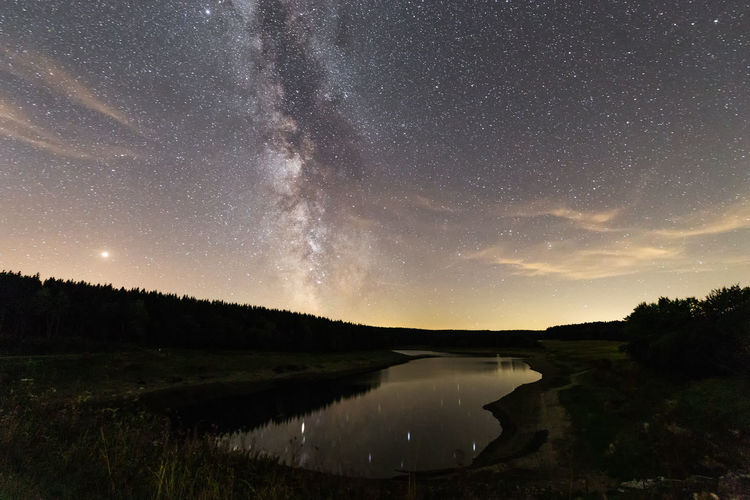Milkyway Wanderlust Astronomy Beauty In Nature Galaxy Harz Harzmountains Lake Milchstrasse Milky Way Nature Night No People Non-urban Scene Plant Reflection Scenics - Nature Sky Space Star Star - Space Star Field Tranquil Scene Tranquility Walden Water