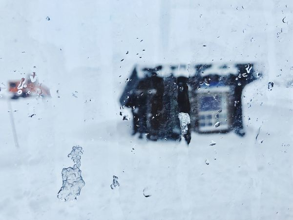 Snowstorm Weather Day No People Indoors  Nature Cold Temperature Water Close-up Sky Glass - Material Transparent Drop Rain Window Mode Of Transport Windscreen Side-view Mirror Land Vehicle Car Interior Snowstorm Transportation Droplet Wet Snow Winter