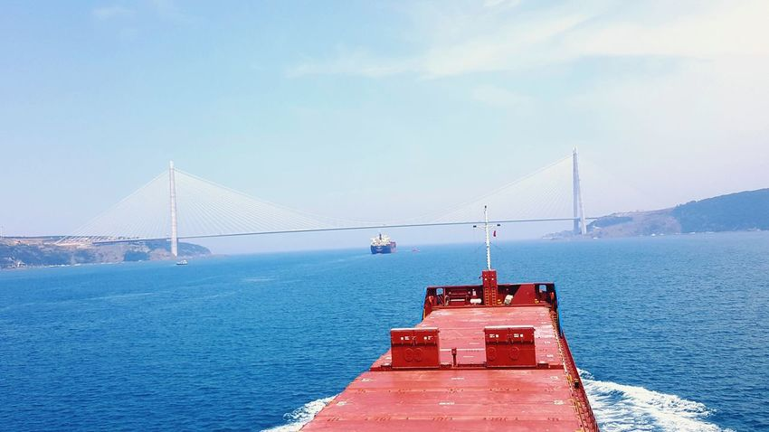 EyeEm Selects Red Water No People Outdoors Sky Sea Nautical Vessel Transportation Day Blue Winter Horizon Over Water Snow Nature Scenics Clear Sky Istanbul Turkey Istanbul - Bosphorus Istanbullife Istanbul City istanbul turkiyeIstanbul Vessel Vessel At Sea