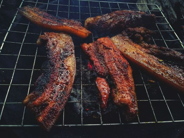 BBQ Pork BBQ Heat - Temperature Barbecue Grilled Barbecue Grill Preparation  Close-up Food And Drink Fire Pit Bonfire Metal Grate Fire Flame Firewood Gutter Burning Heat Fire - Natural Phenomenon