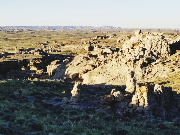 Wyoming Landscape The Great Divide Adobe Town Erosion Effects Wyoming Sky Landscape Rugged Rough Rock Physical Geography Geology Eroded Arid Landscape Sandstone Textured  Rock Formation