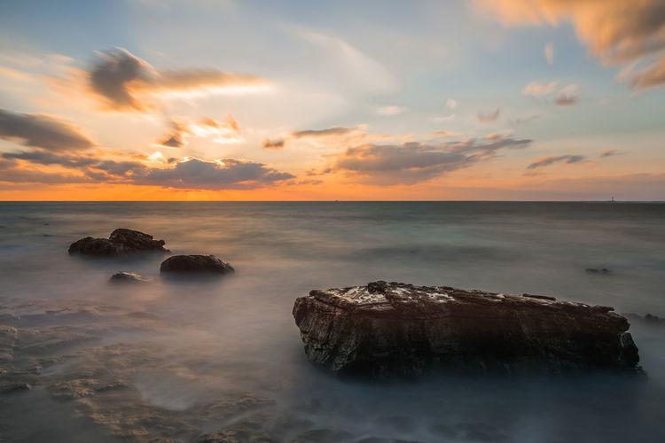 sunset in gongenzaki,shirahama,wakayama-japan on oct 2018 Sea Sky Sunset Water Scenics - Nature Beauty In Nature Horizon Over Water Horizon Rock Tranquil Scene Beach Land Nature Outdoors Sunset_beach Sunsetbeach