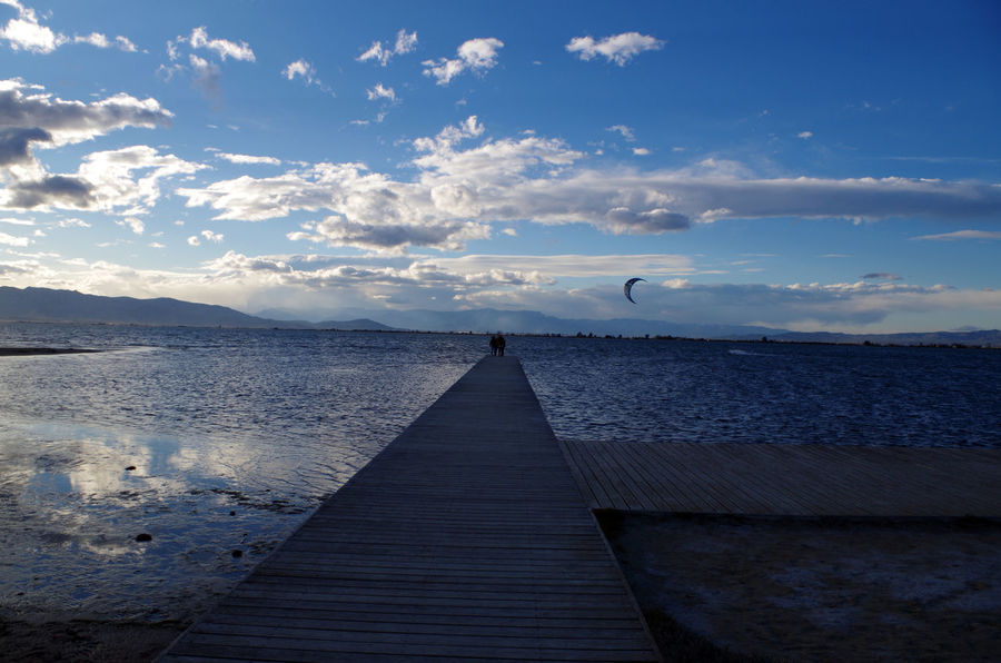 Delta Del Ebro Horizon Over Water Kitsurfing Runway Sky And Clouds Tranquil Scene Water