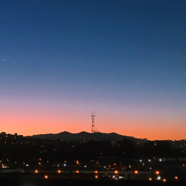 Sunset over Sutro Tower Sunset Silhouettes Beauty In Nature City City Lights Illuminated Mountain No People Open Space Silhouette Sunset Tower