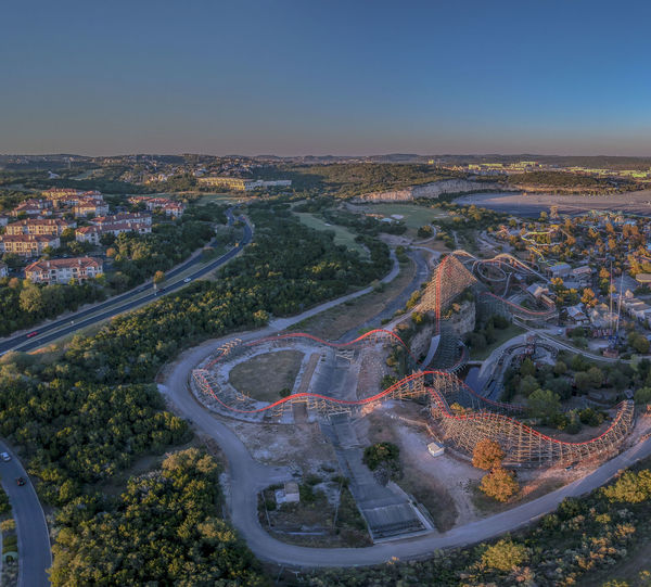 Drone  Rollercoaster Texas Architecture Beauty In Nature City Cityscape Day High Angle View Landscape Nature No People Outdoors Road Scenics Sky Tranquility Tree Winding Road