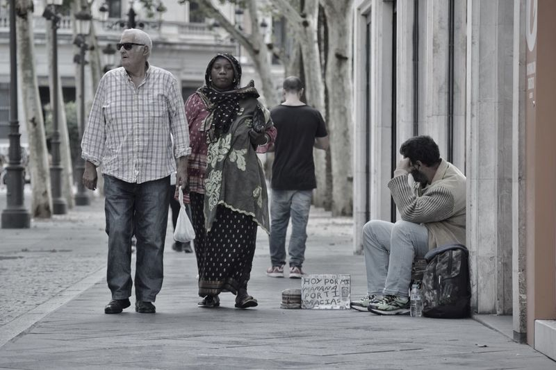 City Outdoors People Nobody Sees Hoy Por Mi Mañana Por Ti ALMS Homeless Street Overlook Sevilla SPAIN Ask For Help Look Away
