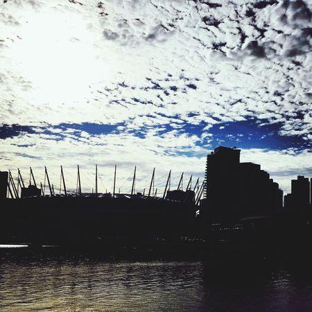 False Creek Vancouver Silhouette BC Place Rogers Arena Skyline Sky