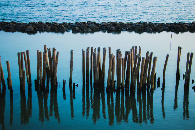 Water Wood - Material No People Nature Tranquility Wooden Post Sea Post Day Reflection Beauty In Nature Tranquil Scene Outdoors Waterfront Non-urban Scene High Angle View Beach Scenics - Nature