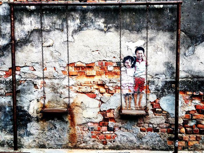 Brother & SisterPenang Island Graffiti Outdoors Penangtrip Localtrip Malaysia Pulau Pinang Georgetown Georgetown Penang Lebuhchulia