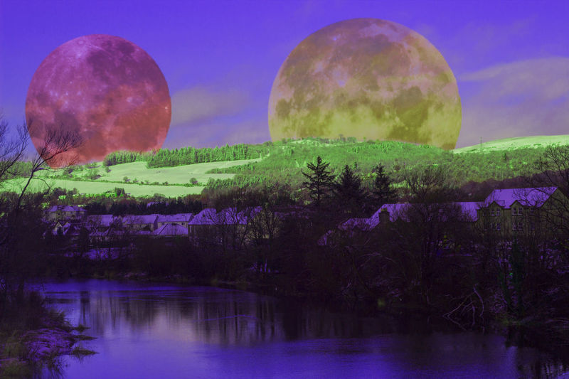 In a world full of futurism Moon's Hillside Stirling Edit Advanced Editing Purple Reflection Beauty In Nature Nature Water Sky Agriculture Outdoors Futuristic Landscape Multi Colored No People Day