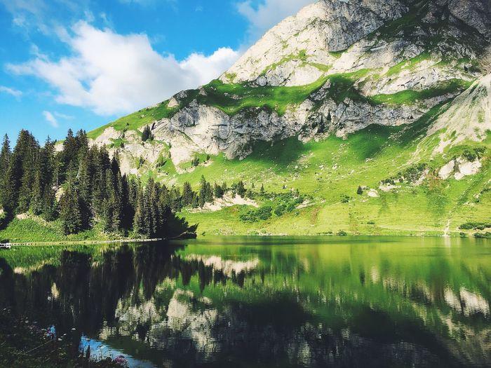 Mountain reflecting on calm lake